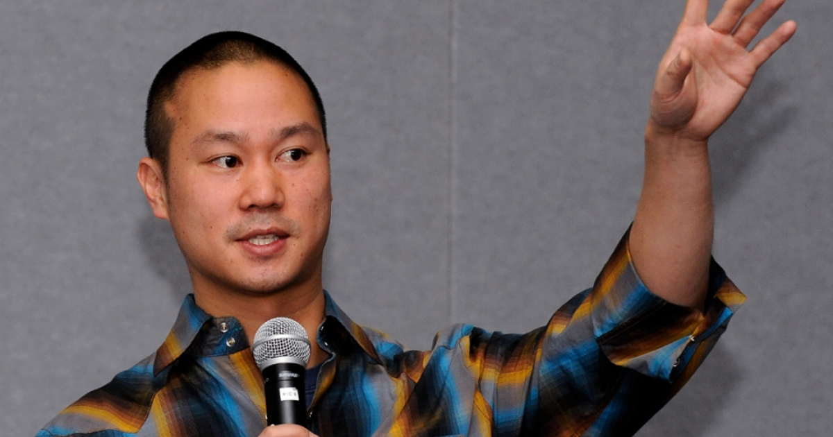 Zappos CEO Tony Hsieh delivers a keynote presentation Feb. 17, 2010 in Las Vegas, Nevada.</p>