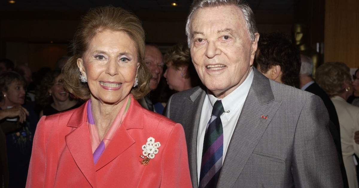 Tony Martin and Cyd Charisse arrive at the AMPAS Centennial Tribute to composer Harold Arlen at the Academy of Motion Picture Arts and Sciences on May 19, 2005.</p>
