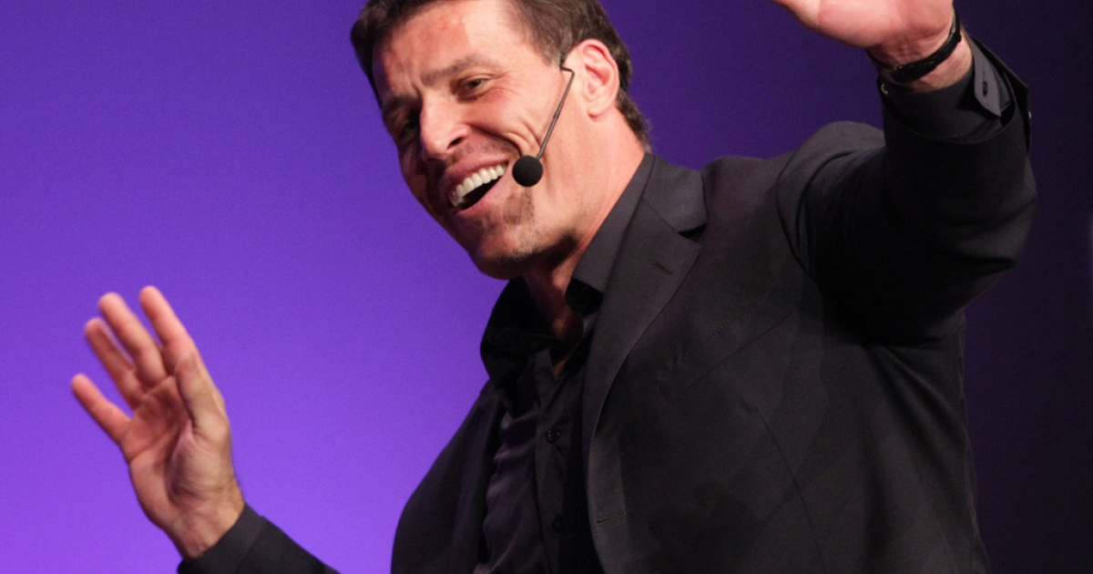 Tony Robbins speaks during the Maria Shriver Women's Conference at the Long Beach Convention Center on October 25, 2010 in Long Beach, California.</p>