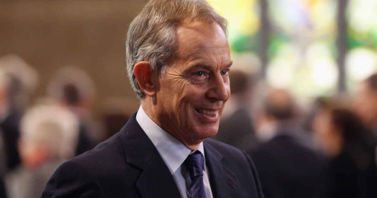 Former British Prime Minister Tony Blair leaves after Queen Elizabeth II addressed both Houses of Parliament in Westminster Hall on March 20, 2012 in London, England.</p>
