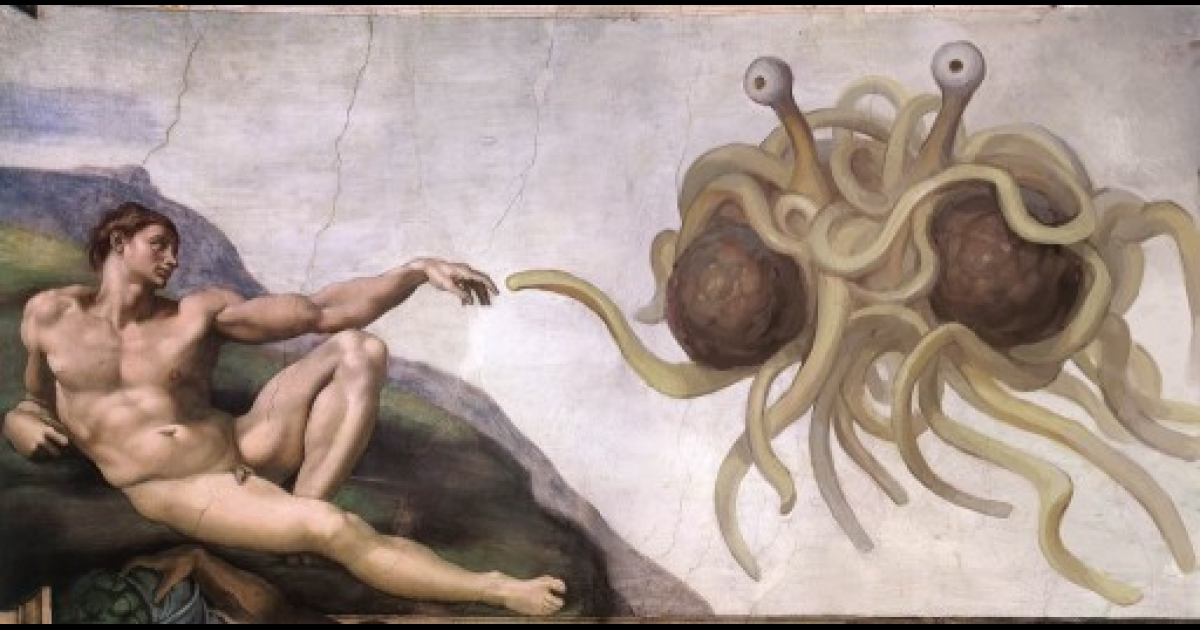 The Flying Spaghetti Monster is typically depicted as a clump of tangled spaghetti with two eyestalks, two meatballs, and noodly appendages. This iconic image, Touched by His Noodly Appendage was originally created in August 2005 by the Swedish designer Niklas Jansson as a parody of Michelangelo's The Creation of Adam. The image has become the de facto brand image for the Church of the Flying Spaghetti Monster.</p>