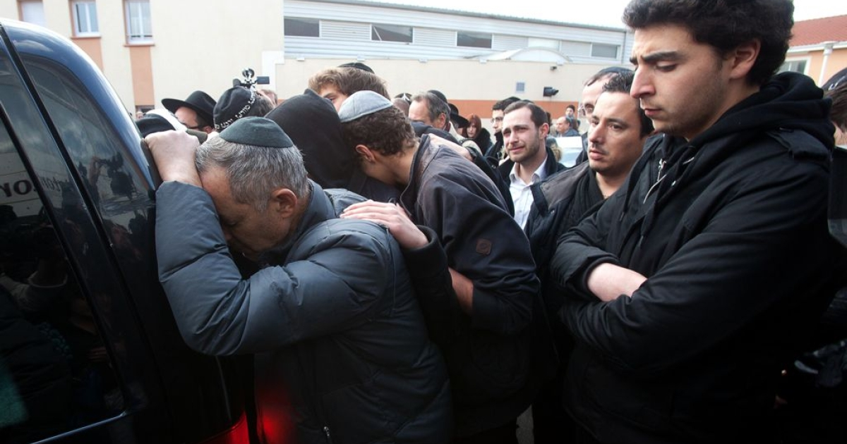 Relatives and mourners attended a ceremony at the Ozar Hatorah Jewish school on March 20, before the bodies were transported to Israel for burial.</p>