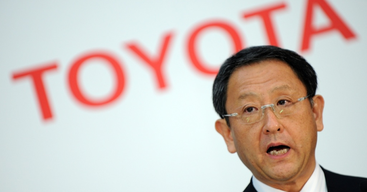 Toyota president Akio Toyoda delivers a speech during a press conference at the company's head office in Tokyo on May 9, 2012.</p>