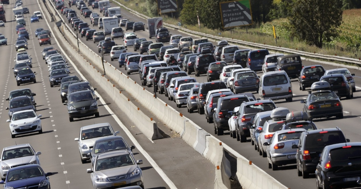 This file photograph shows a traffic jam in France.</p>