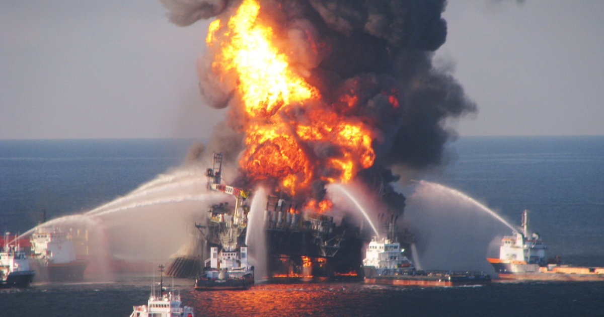 Fire boats battle a fire at the off shore oil rig Deepwater Horizon April 21, 2010 in the Gulf of Mexico off the coast of Louisiana.</p>