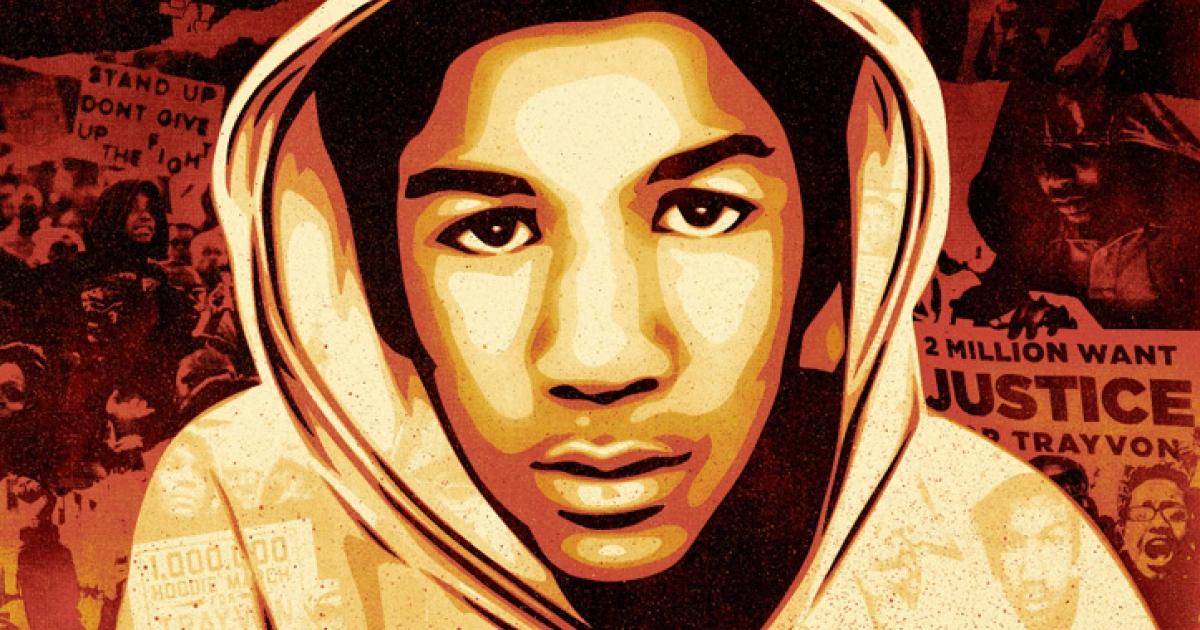 Florida teen Trayvon Martin, who was fatally shot by George Zimmerman, as interpreted by artist Shepard Fairey.</p>
