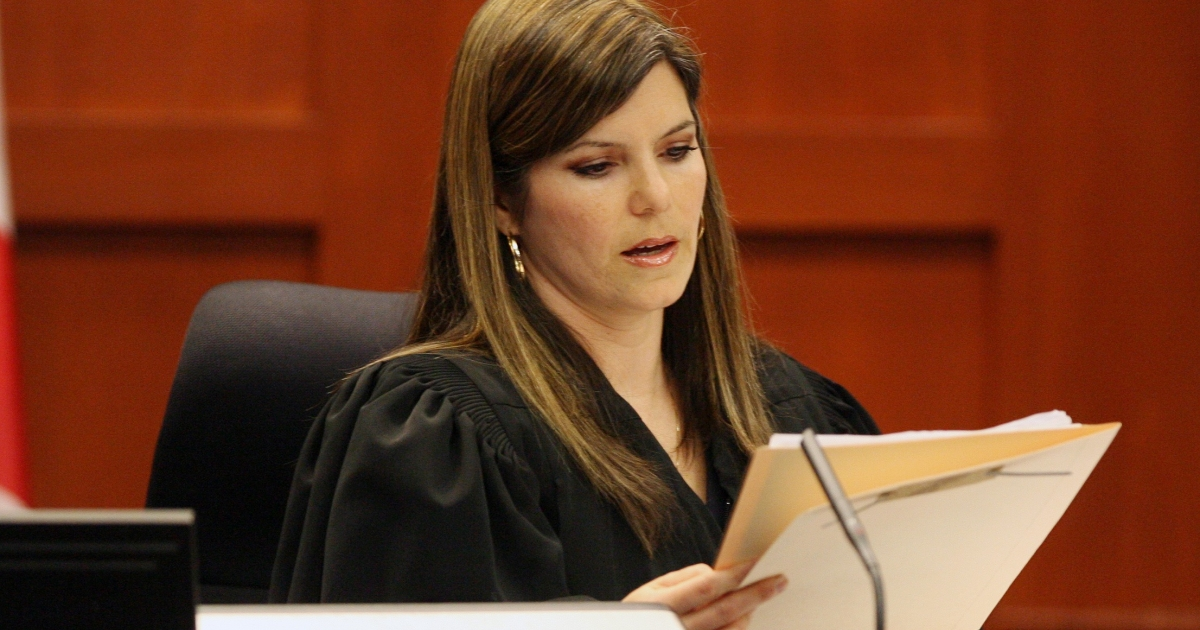 Judge Recksiedler is seen during a short status hearing in the second-degree murder case for the shooting death of Trayvon Martin against George Zimmerman on April 13.</p>