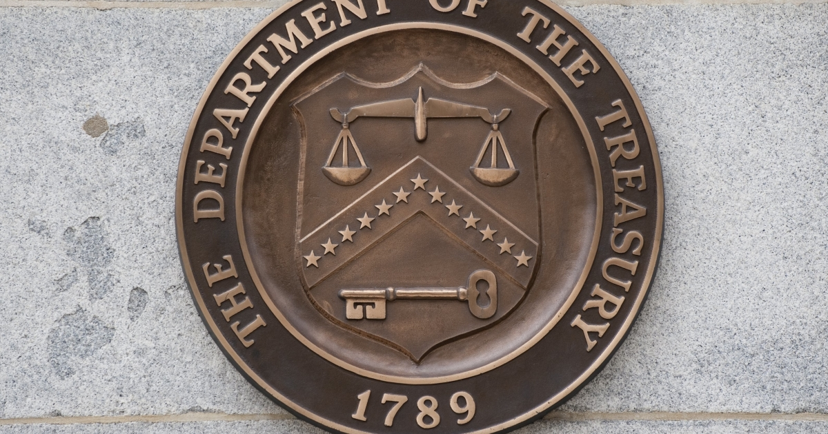 The logo of the US Treasury Department on the outside of the Treasury building in Washington, DC.</p>
