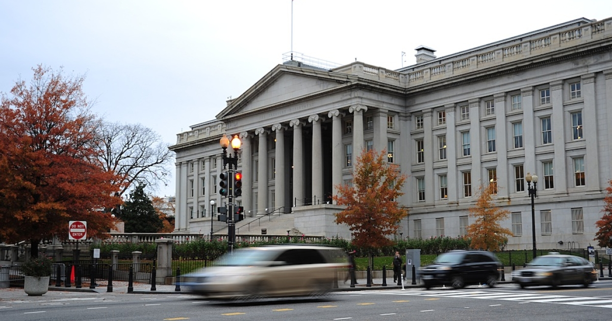 This November 15, 2011 file photo shows the US Treasury Building in Washington, DC.</p>