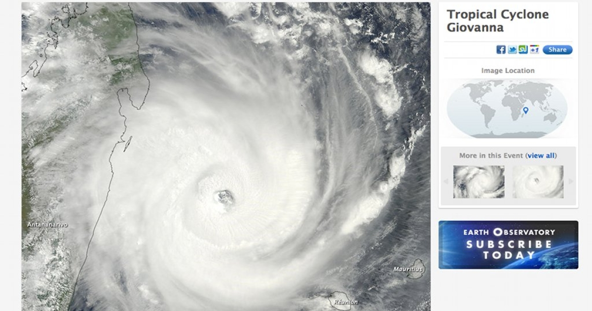 A satellite image of tropical cyclone Giovanna on February 13, 2012, pictured on NASA's website.</p>