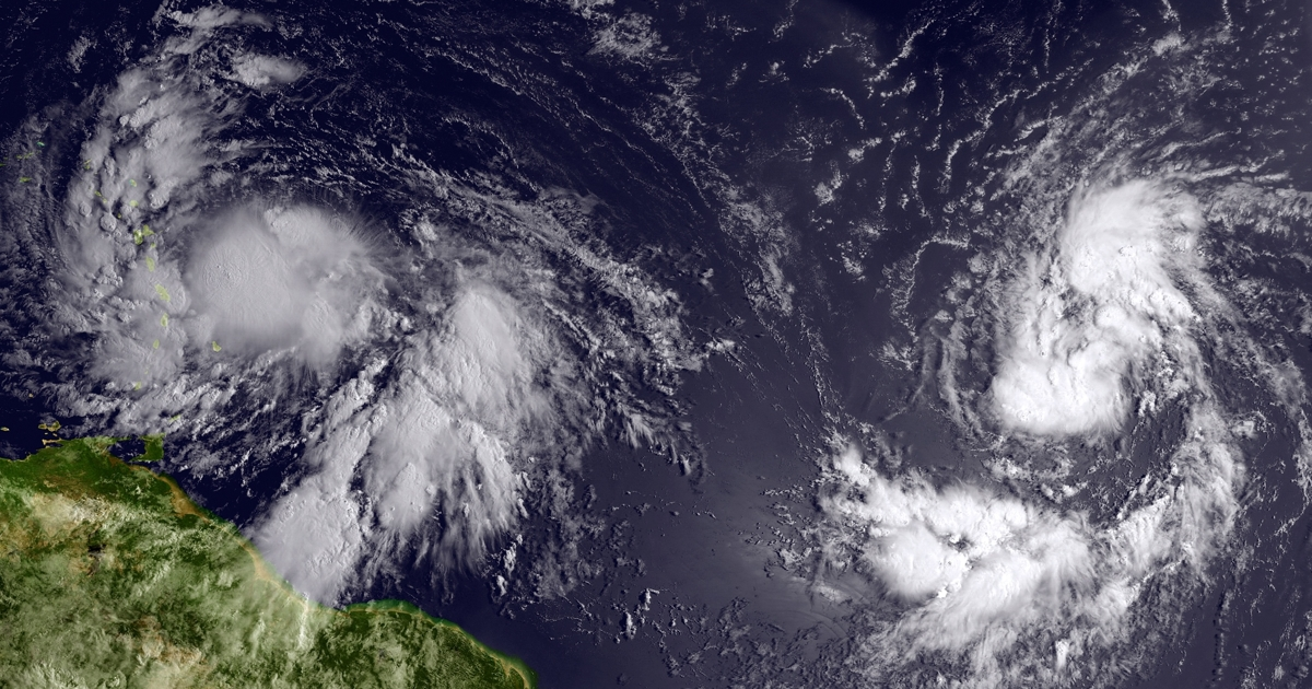 A satellite image provided by National Oceanic and Atmospheric Administration shows Isaac reaching tropical storm status and approaching the Lesser Antilles islands as it moved westward on Aug. 22 in the Atlantic.</p>
