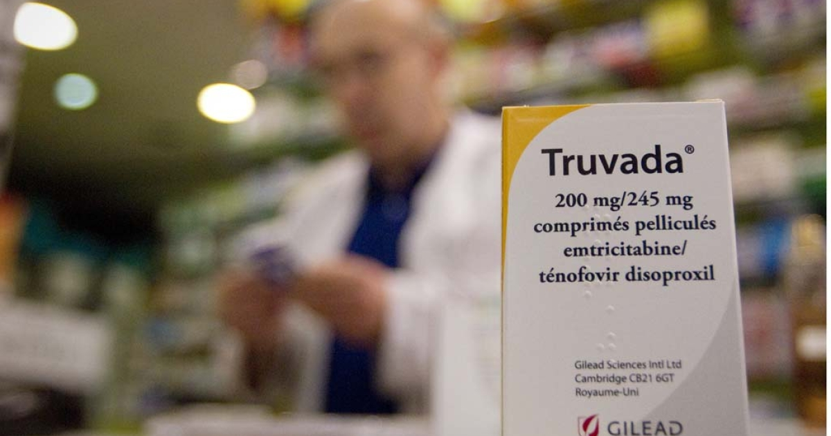 A picture taken on May 11, 2012 in a pharmacy in Paris shows a box of antiretroviral drug Truvada.</p>
