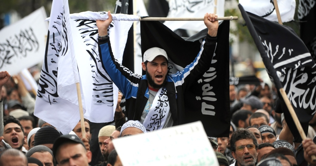 Tunisian Salafists stage a demonstration on March 25, 2012 in Tunisia's capital, Tunis.</p>