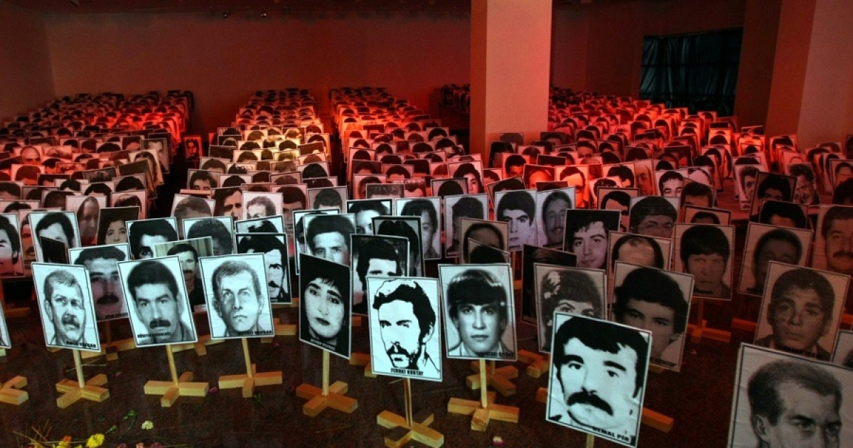 An exhibition show photos of Turkish victims of the Sept. 12, 1980 military coup in Ankara.</p>