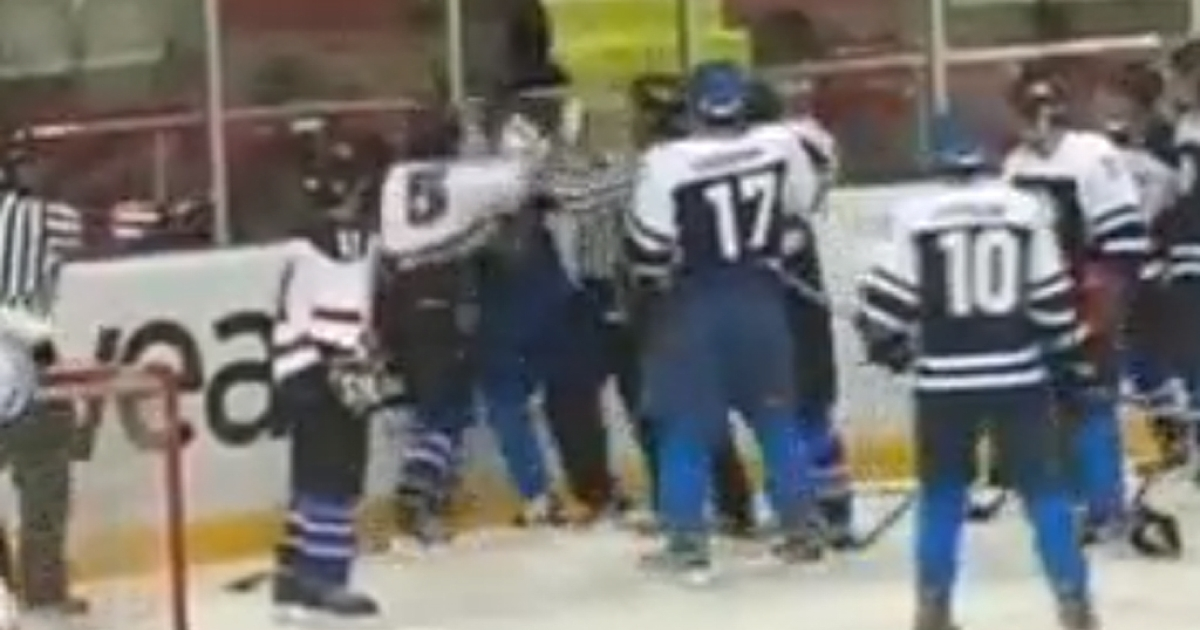 A massive fight between ice hockey players from the Turkish Kocaeli Metropolitan Municipality Sports Cluband the Ezurum Youth Sports Club ended only after riot police were called in, according to reports.</p>