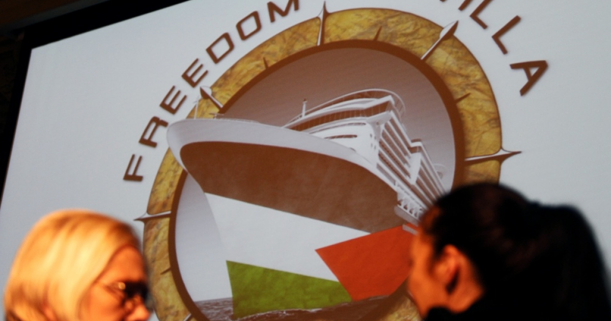 Activists of the new Gaza flotilla called 'Freedom Flotilla Two' talk prior to giving a press conference on Feb. 7, 2011 in Madrid.</p>