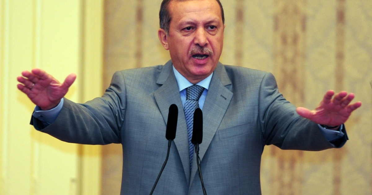Turkish Prime Minister Recep Tayyip Erdogan gestures as he speaks during a conference in Istanbul on Aug. 17, 2011.</p>