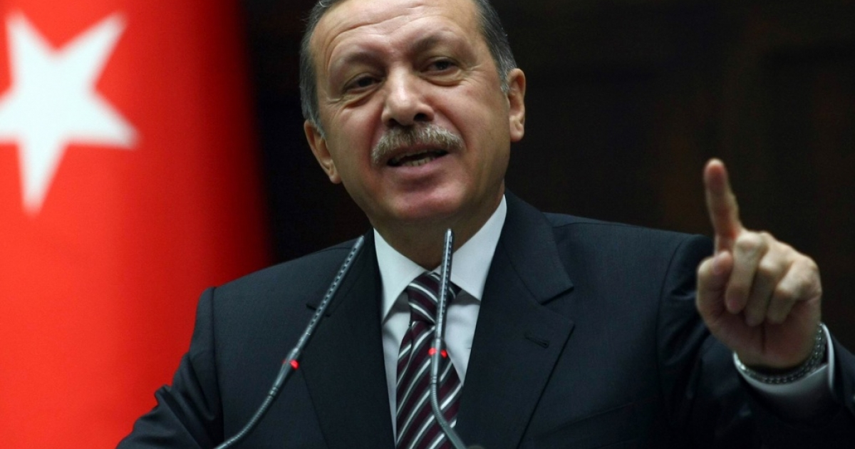 Turkey's Prime Minister Recep Tayyip Erdogan gestures while addressing parliament on the issue of Syria on Nov. 15, 2011.</p>