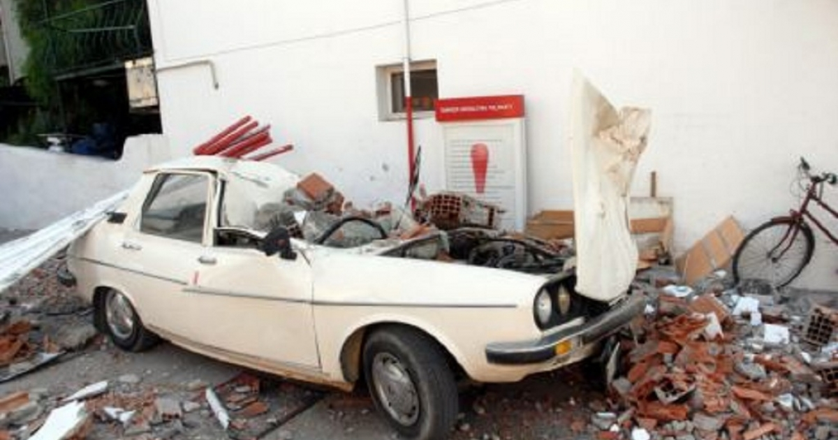A car in the southern Turkish city of Mugla that was damaged by Sunday's earthquake.</p>