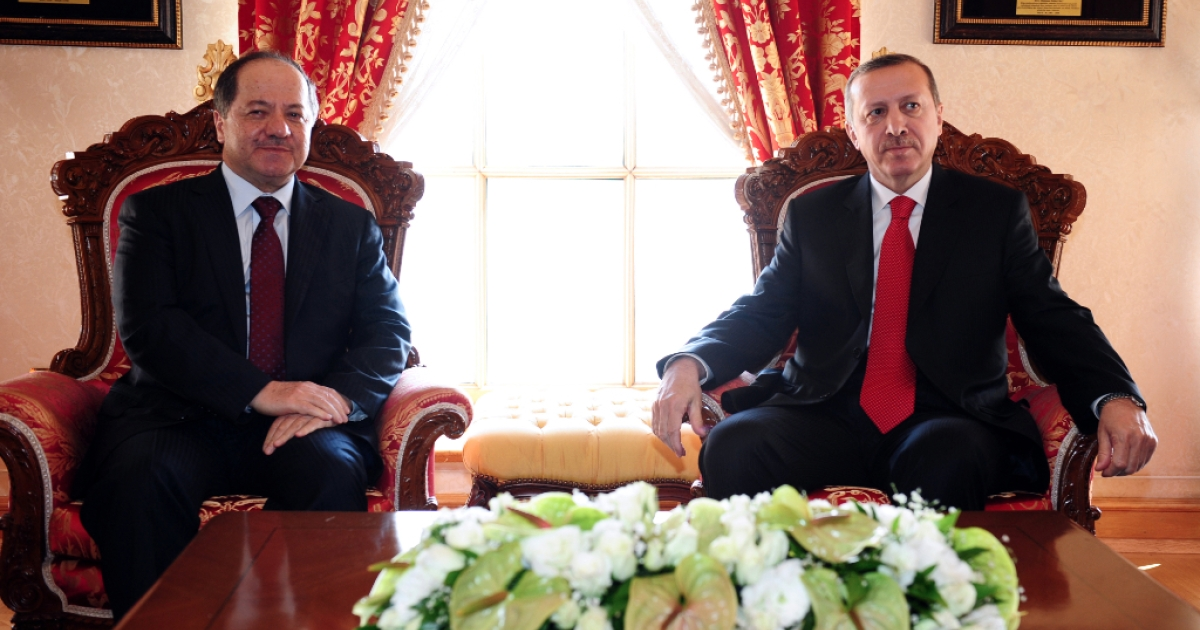 The leader of Iraq's autonomous Kurdistan, Massud Barzani (L) poses for the media with Turkish Prime Minister Recep Tayyip Erdogan prior to their meeting in Istanbul on April 19, 2012. The region is currently locked in a bitter dispute with Iraq over oil payments.</p>