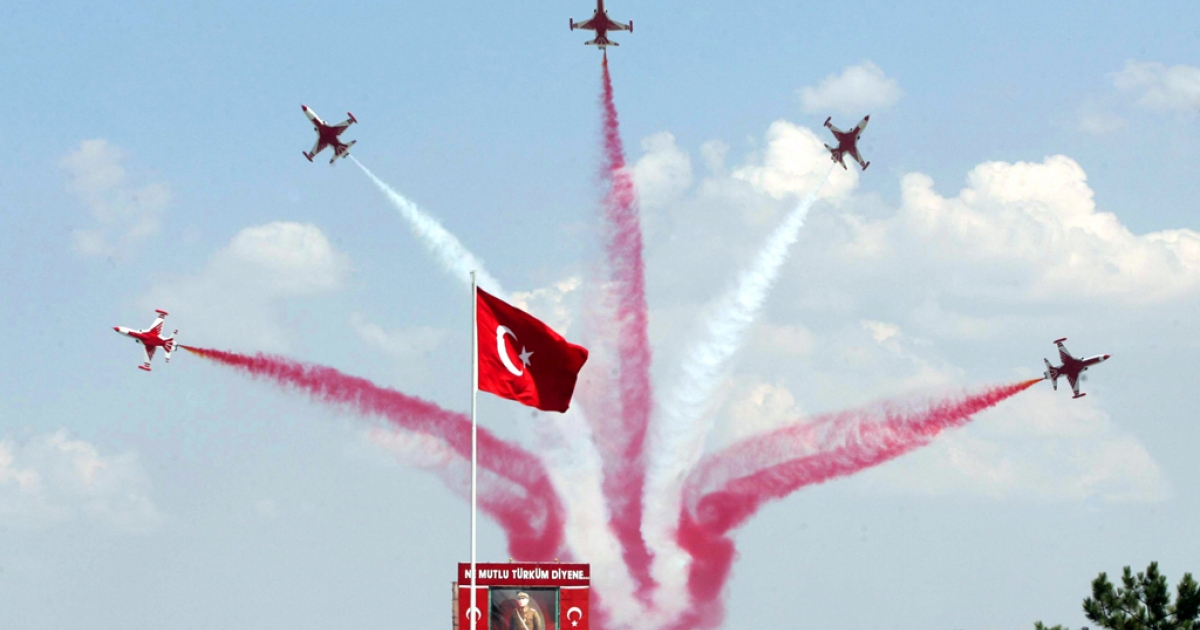 Turkish jets parade during the Victory Day celebrations, in Ankara on August 30, 2011. An F-4 Phantom jet went missing on June 22, 2012 over the Mediterranean Sea near Turkey's border with Syria. It is unclear whether it crashed or was shot down.</p>
