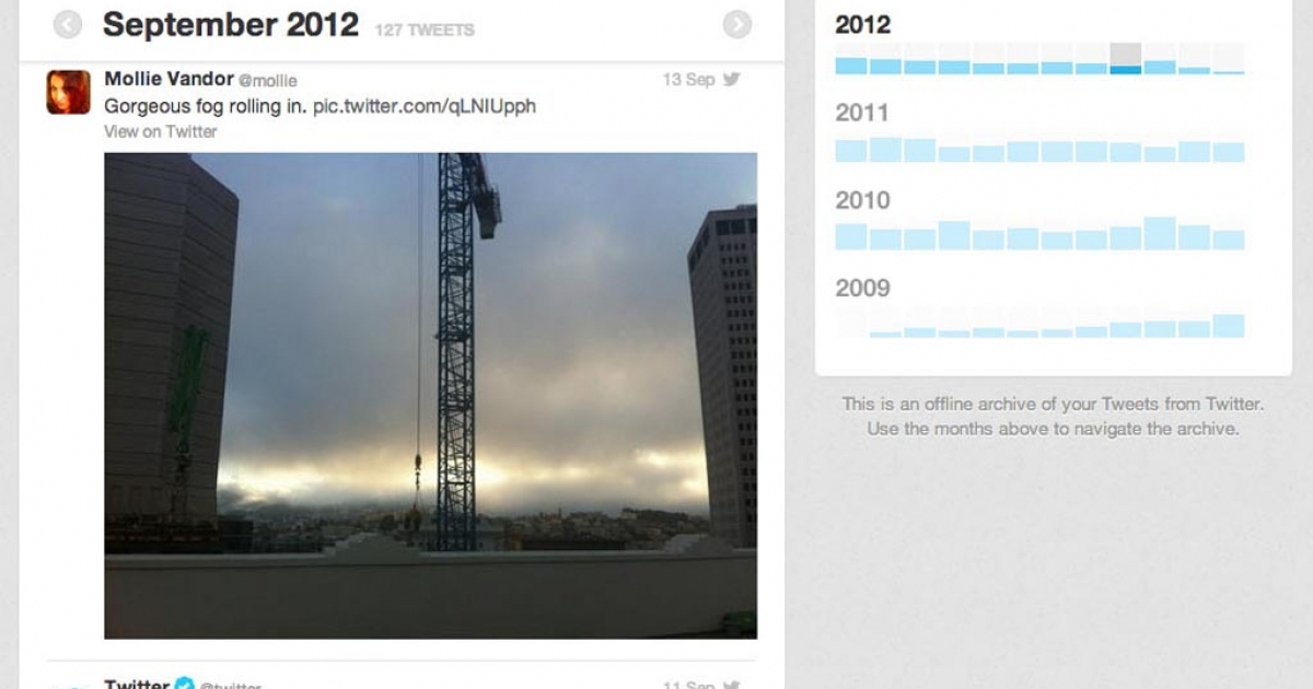 A screengrab of the new Twitter archive feature.</p>