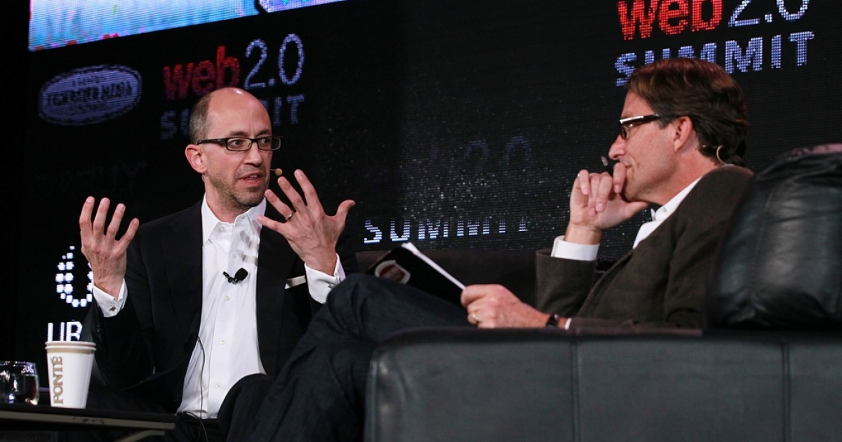 Twitter CEO Dick Costolo (L) speaks in conversation with John Battelle during the 2011 Web 2.0 Summit on October 17, 2011 in San Francisco, California. Costolo, one of the many CEOs whos job is on the line, must prove to investors that Twitter can generate new revenue streams</p>