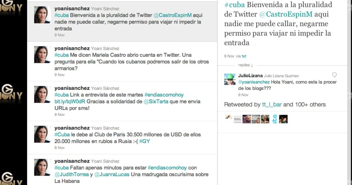 A screeengrab of the tweet sent @CastroEspinM by anti-government Cuban blogger, Yoani Sanchez (@yoanisanchez).</p>