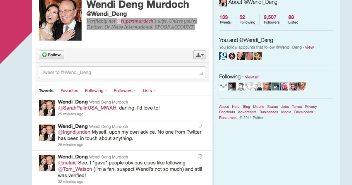 A screenshot of the fake Wendi Deng Murdoch Twitter account.</p>