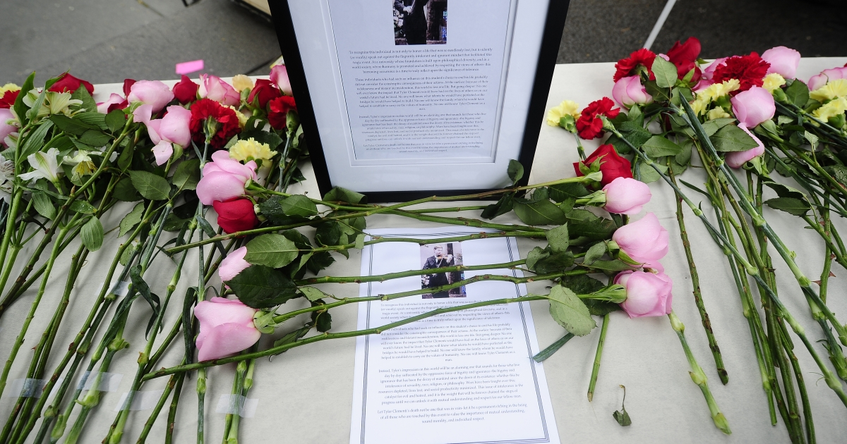 A memorial to Tyler Clementi at Rutgers University in New Brunswick, N.J., on Oct. 1, 2010.</p>