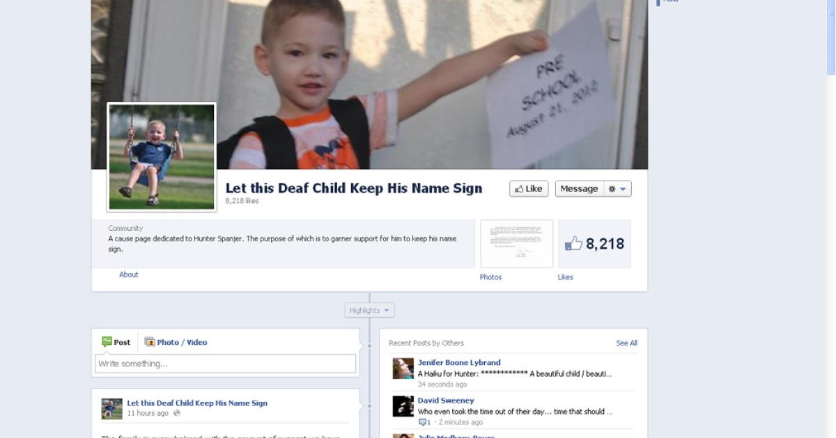 A screen grab of the Facebook page
