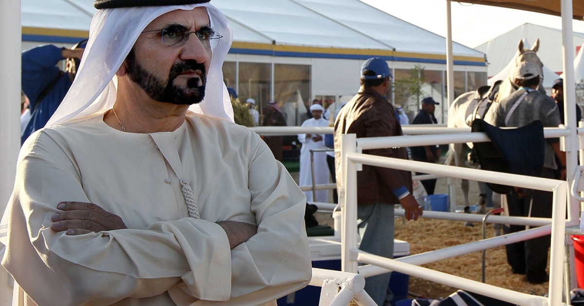 Sheikh Moammed bin Rashid al-Maktoum, ruler of Dubai and Prime Minister of the Untied Arab Emirates, attends the Arab Games' 120 kms endurance competition near Doha, Qatar on December 17, 2011 in which his son Crown Prince Sheikh Hamdan took part.</p>
