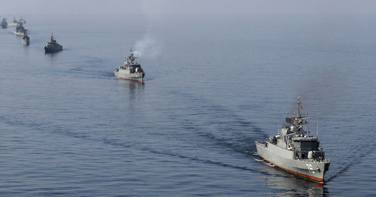 Iranian Navy boats in the Strait of Hormuz.</p>