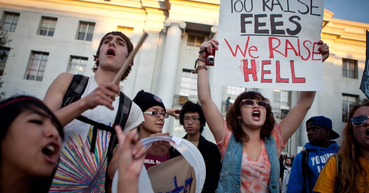 University of California, Berkeley students protest on campus as part of an 'open university' strike in solidarity with the Occupy Wall Street movement November 15, 2011 in Berkeley, California. That afternoon, police shot an armed man in the Haas School of Business. The events appear unrelated.</p>