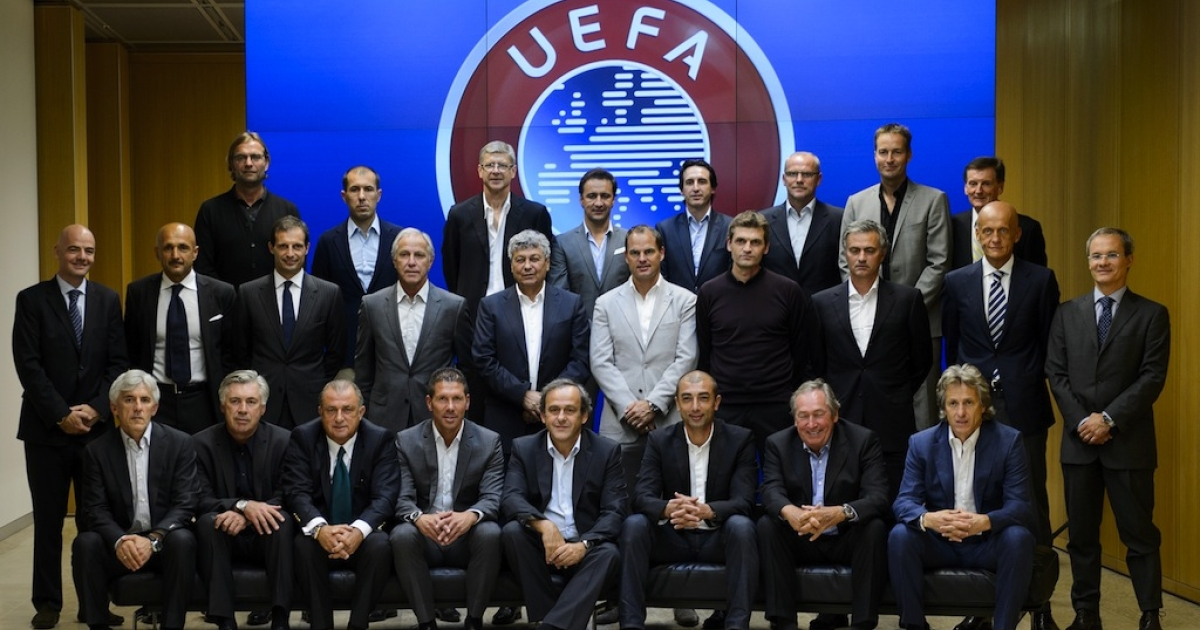 Europe's best coaches pose for a family photo on Sept. 5, 2012, during the Elite Football Club Coaches Forum at the UEFA headquarters in Nyon, Switzerland. At the meeting Arsenal's coach Arsene Wenger repeated his plea for