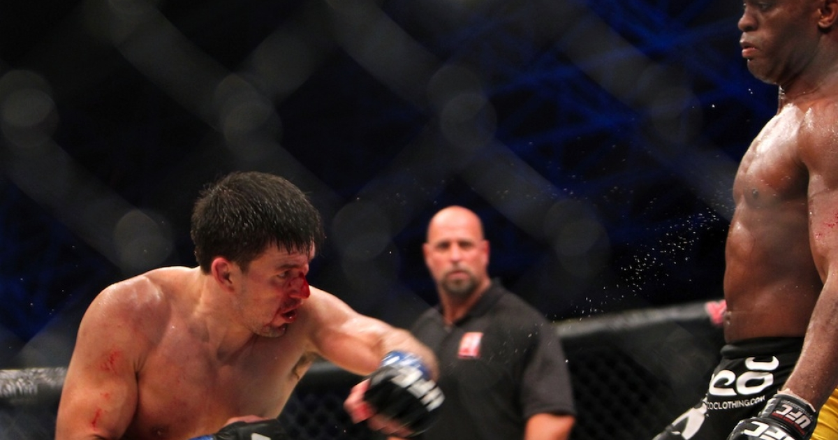 Brazil's Anderson Silva (R) is attacked by his compatriot Demian Maia during their Ultimate Fighting Championship (UFC) 112 middleweight bout in Abu Dhabi on April 10, 2010. Silva won the fight.</p>