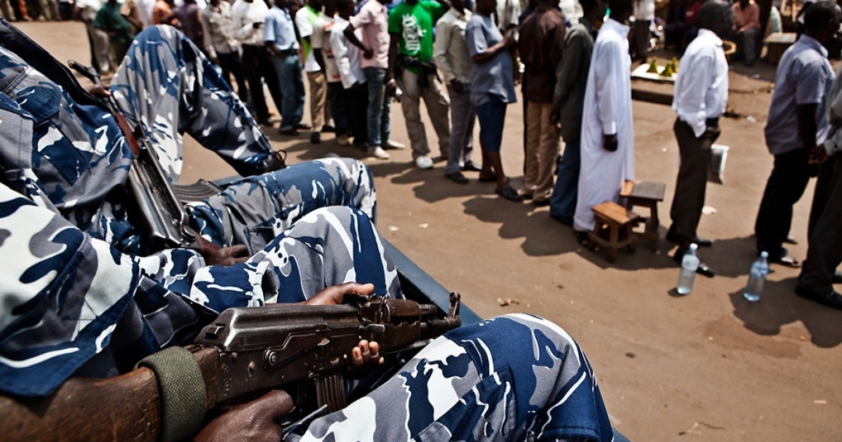 There is high security across Uganda during voting for the presidential eleciton Friday.</p>