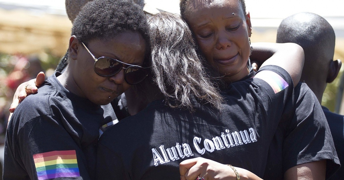Ugandan gays are frightened by the reintroduction of the anti-homosexuality bill in parliament. Here members of the Ugandan gay community mourn at the funeral of murdered gay activist David Kato near Mataba, on Jan. 28, 2011. Although the police claims it was most likely a petty crime, targeting Kato's money, many members of the gay and the human rights community hold the Ugandan government responsible for not battling the growing threats to homosexuals.</p>
