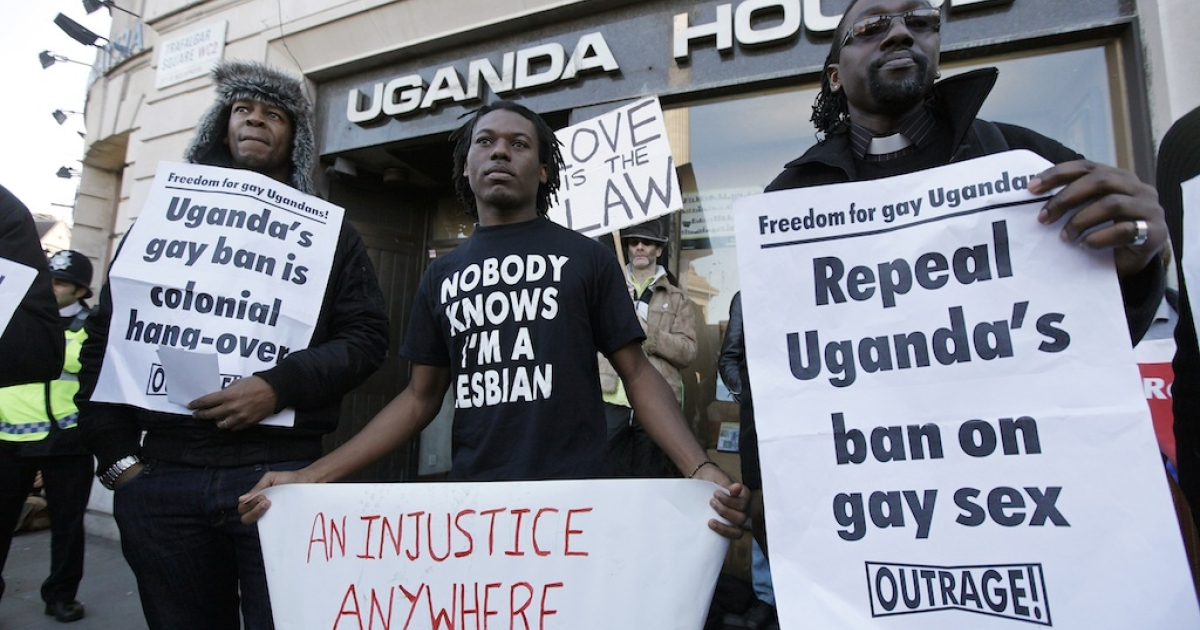 Uganda has expressed outrage over threats to cut aid because of human rights violations.  This photo shows demonstrators protesting outside the Ugandan embassy in central London on Dec. 10, 2009.</p>