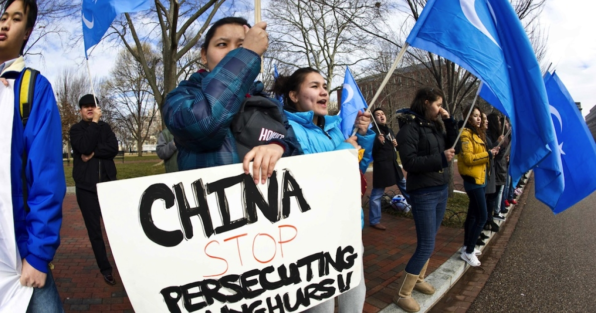 Uighur activists protest against the visit of Chinese President Hu Jintao outside of the White House in Washington, DC, on January 19, 2011. Many Uighurs complain of religious and cultural repression by the Chinese authorities, charges Beijing denies.</p>