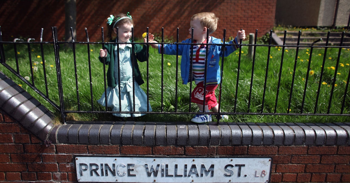 Prince William Street residents Summer Leigh Morgan, 3, and her brother Rhys, 2, look forward to a royal wedding street party in Prince William Street, Toxteth, on April 18, 2011 in Liverpool, England.</p>
