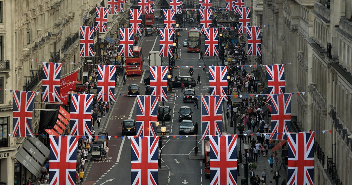 The British Union Jack hangs over London's Regent Street on April 20, 2011, in preparation for the wedding between Britain's Prince William and Kate Middleton on April 29, 2011.</p>