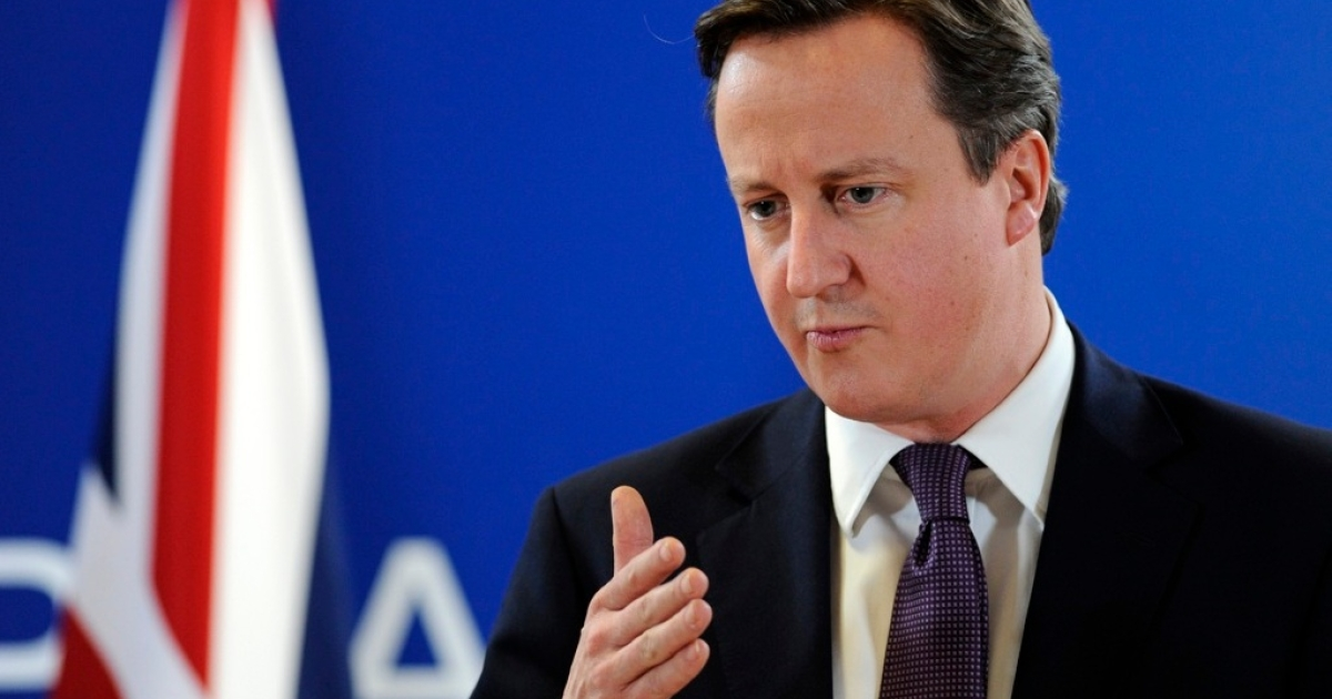 Britain Prime Minister David Cameron gives a press conference after talks gathering European Union (EU) heads of State or government during an European Union summit at the EU headquarters, early on December 9, 2011 in Brussels.</p>