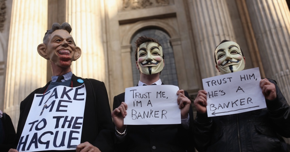 Protestors from the 'Occupy London Stock Exchange' demonstration continue their occupation outside St Pauls Cathedral in London, England.</p>