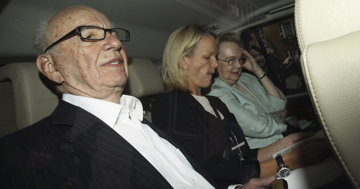 Rupert Murdoch, the chief executive officer of News Corp., is driven from his apartment on July 12, 2011 in London, England. Allegations emerged yesterday that private investigators working for The Sun and The Sunday Times newspapers, owned by Mr Murdoch's company, targeted former Prime Minister Gordon Brown to obtain bank details and his son's medical records.</p>