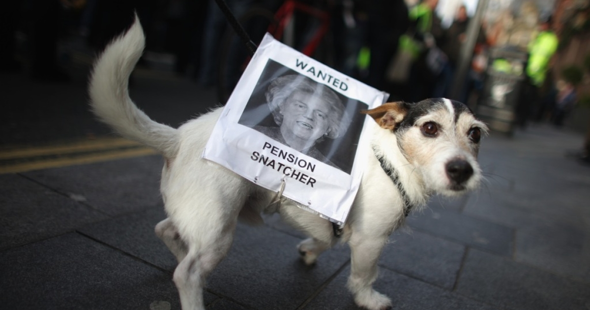 Pet dog Milo walks with a sign during a march for the public sector strike on November 30, 2011 in Liverpool, UK. More than 2 million public sector workers are staging a nationwide strike over cuts to their public sector pensions.</p>
