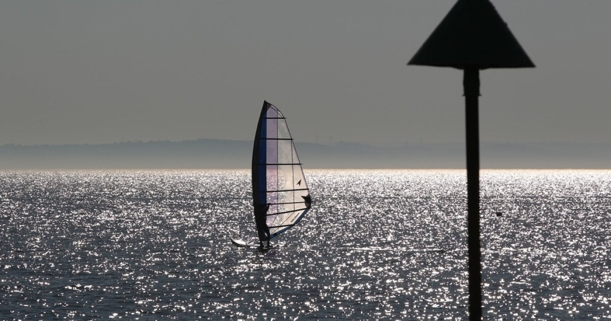 A windsurfer sails in the Thames estuary in September, 2011. Could this be the site of London's new airport?</p>