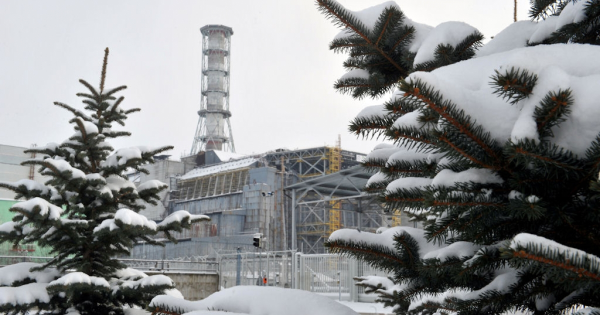 The sarcophagus covering the destroyed 4th power block of the Chernobyl nuclear power plant is seen on Feb. 22, 2011.</p>