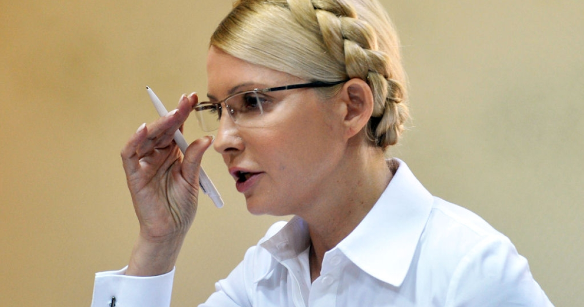 Ukraine's former Prime Minister Yulia Tymoshenko speaks during her trial in Kiev on July 15, 2011.</p>