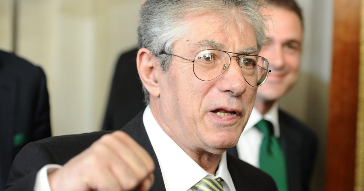 The head of the Northern League party, Umberto Bossi, resigned on April 5, 2012, after his party was engulfed by a financial scandal.</p>